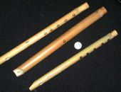 Flutes made from Arundo donax. Purchased in the market in Aleppo, Syria. June 2000.