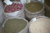 Althea setosa. Floral buds in Damascus market for making floral tea. Malvaceae